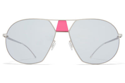 MYKITA STUDIO - Studio 9.4 Sunglasses S16 - Shiny Silver/Garnet with Soft Grey Solid Lenses