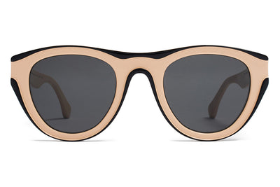 MYKITA + Martin Margiela - MMDUAL004 Sunglasses D2 Nude/Black with Dark Grey Solid Lenses