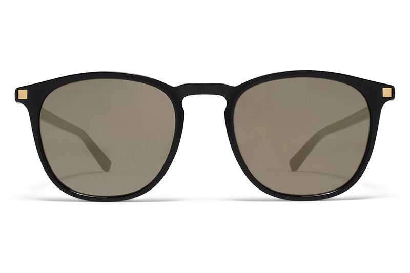 Black/Glossy Gold with Brilliant Grey Solid Lenses