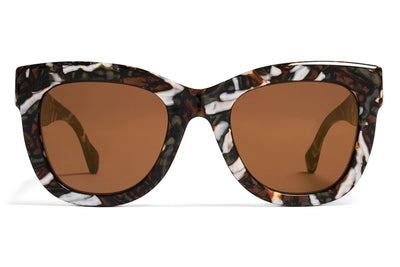 MYKITA / Damir Doma  - Dawn Sunglasses Terrazzo Brown with Brilliant Burgundy Solid Lenses