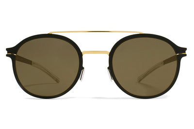 MYKITA Sunglasses - Crosby Gold/Jet Black with Brilliant Grey Solid Lenses