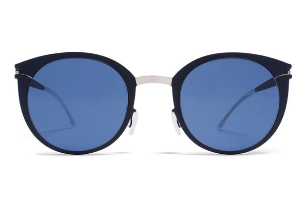 MYKITA First Sunglasses - Dodo Silver/Night Blue with Saphire Blue Solid Lenses