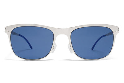 MYKITA First Sunglasses - Jaguar Shiny Silver with Saphire Blue Solid Lenses