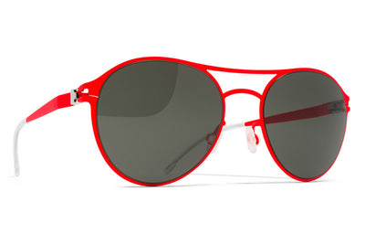MYKITA First Sunglasses - Sparrow Fluor Red with Black Solid Lenses
