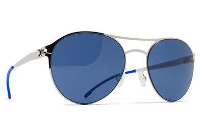 MYKITA First Sunglasses - Sparrow Shiny Silver with Saphire Blue Solid Lenses