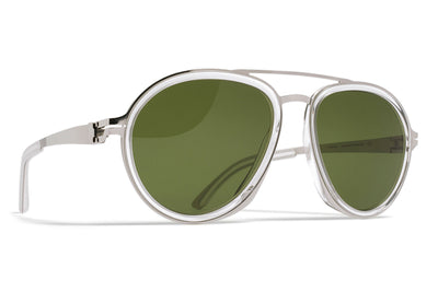 MYKITA / Damir Doma  - DD1.2 A1 Shiny Silver/Limpid with Green Solid Lenses