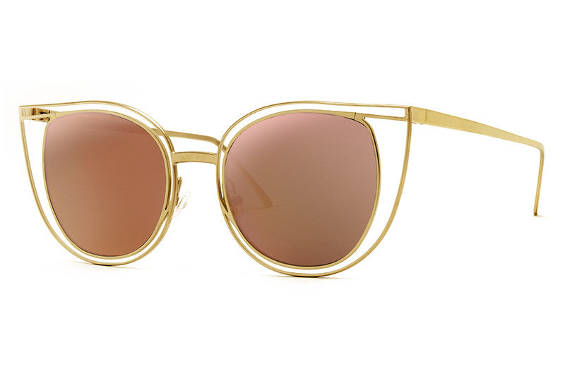 Thierry Lasry - Eventually Sunglasses Matte Gold w/ Multicolor Mirror Lenses (800)