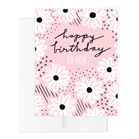 Daisy Bday Blush Greeting Card
