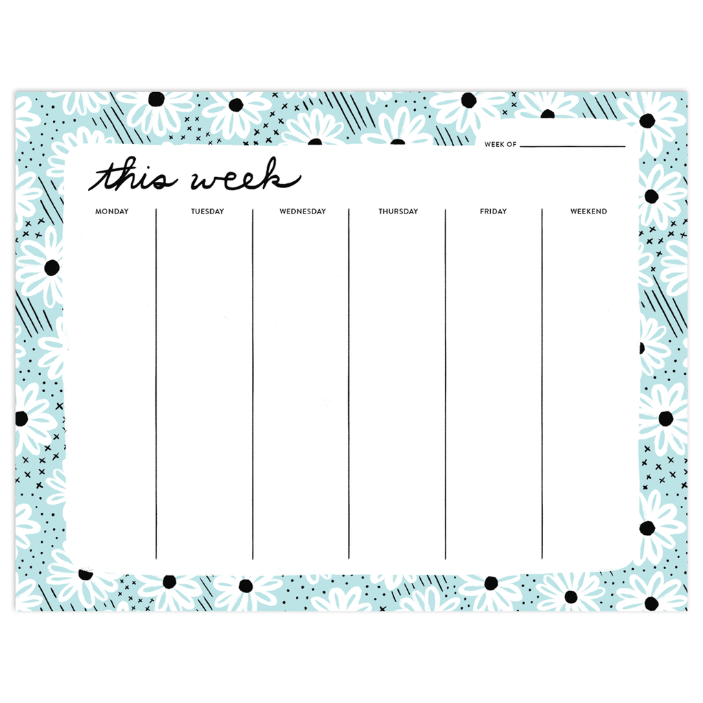 Daisy Day Mint Desk Pad