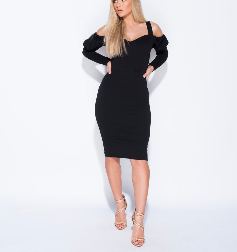 b1a019d4ef0aa Cold Shoulder Puff Sleeve Bodycon Dress – JF Lothus
