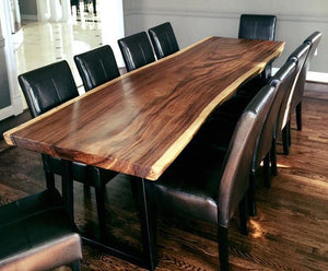 Suar Live Edge Solid Dual Slab Hardwood Dining Table/Conference Table, 156 L x 51 W in. - La Place USA Furniture Outlet