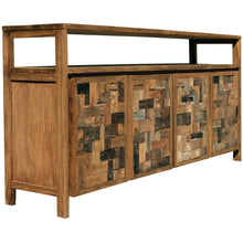 Recycled Teak Wood Mozaik Media Center / Buffet with 4 Wooden Doors - La Place USA Furniture Outlet