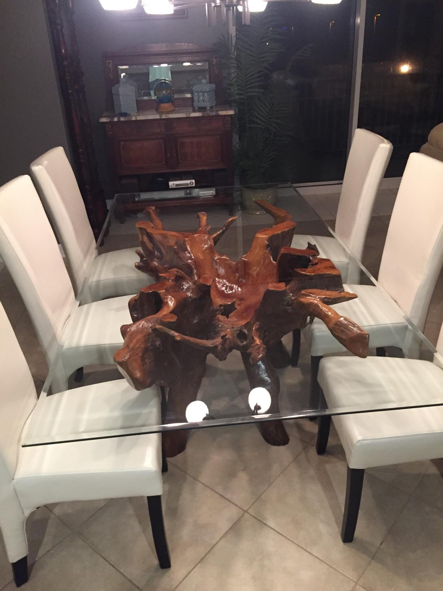 Teak Wood Root Dining Table Including 87 X 43 Inch Glass Top La