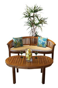 Teak Wood Peanut Double Bench - La Place USA Furniture Outlet