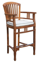 5 Piece Square Teak Wood Orleans Bar Table/Chair Set With Cushions - La Place USA Furniture Outlet