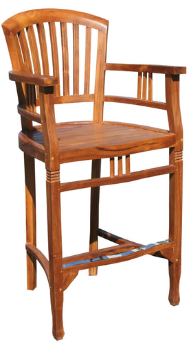 Teak Wood Orleans Barstool With Arms - La Place USA Furniture Outlet