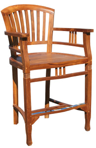 Teak Wood Orleans Counter Stool with Arms - La Place USA Furniture Outlet