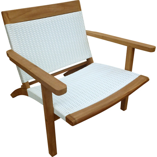 Teak Wood Barcelona Patio Lounge and Dining Chair, White - La Place USA Furniture Outlet