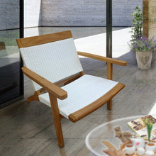 Teak Wood Barcelona Patio Lounge and Dining Chair, White