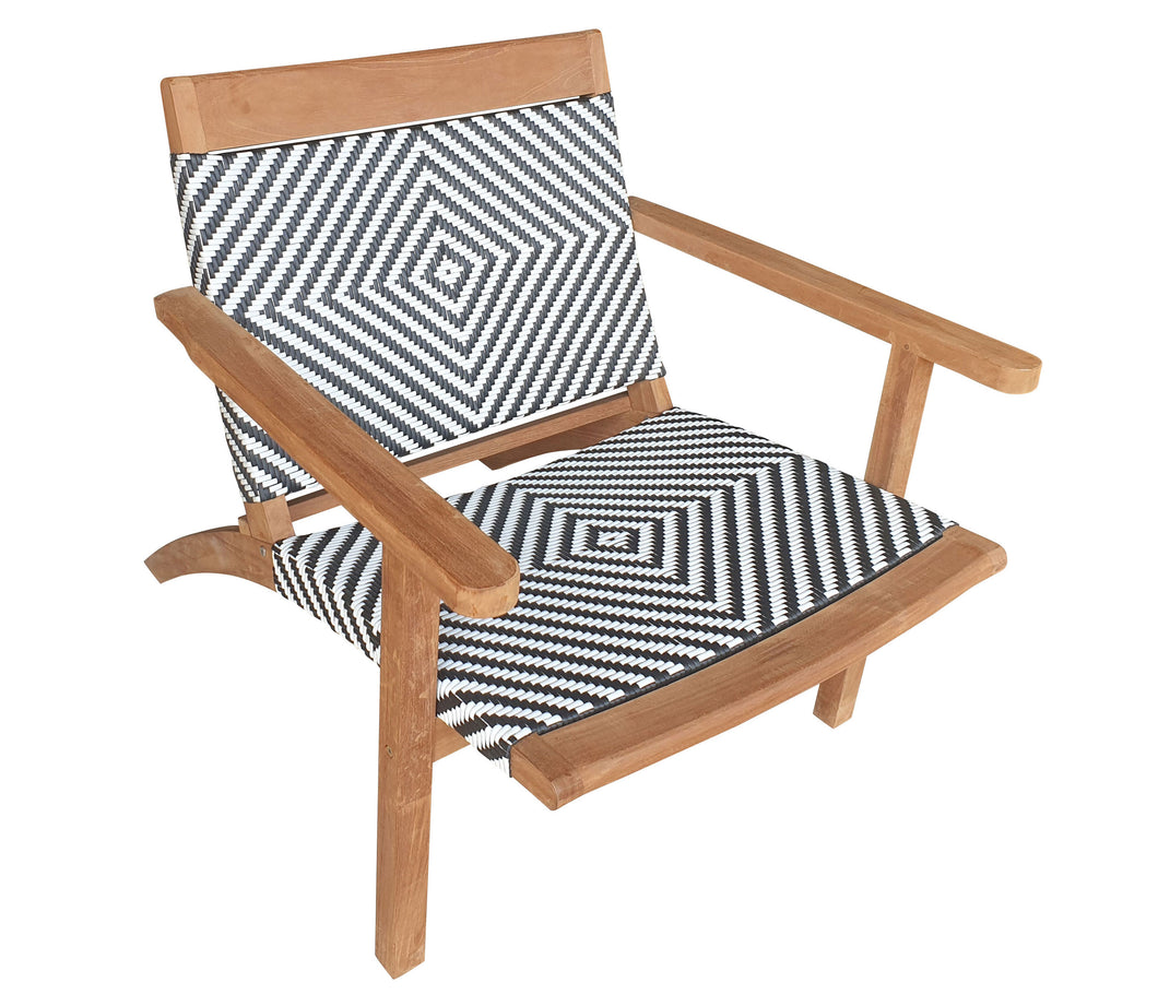 Teak Wood Barcelona Patio Lounge and Dining Chair, Black & White - La Place USA Furniture Outlet