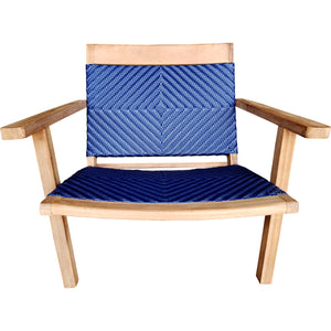 Teak Wood Barcelona Patio Lounge and Dining Chair, Blue - La Place USA Furniture Outlet
