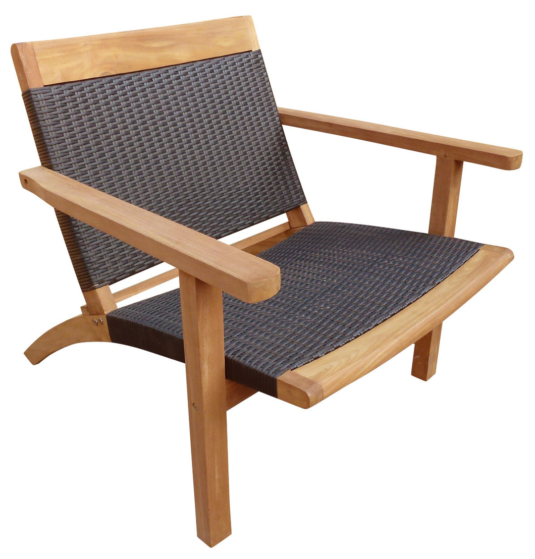 Teak Wood Barcelona Patio Lounge and Dining Chair, Black - La Place USA Furniture Outlet