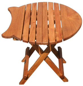 Teak Fish Folding Picnic Table - La Place USA Furniture Outlet