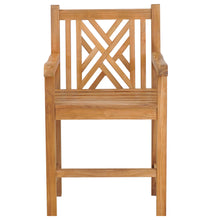 Teak Wood Chippendale Counter Stool with Arms
