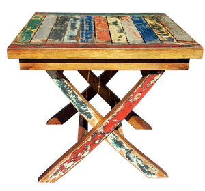 Marina Del Rey Recycled Teak Wood Boat Folding Side Table
