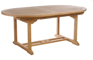 Teak Orleans Oval Extension Table - La Place USA Furniture Outlet