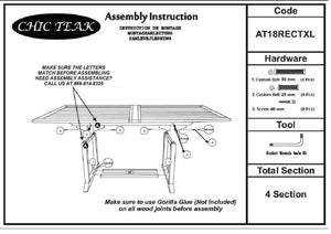 Teak Wood Italy Rectangular Double Extension Table - La Place USA Furniture Outlet