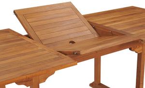Teak Wood Kasandra Rectangular Extension Dining Table - La Place USA Furniture Outlet