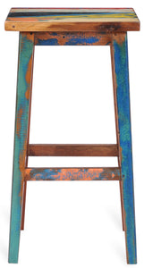 Marina Del Rey Square Recycled Teak Wood Boat Barstool - La Place USA Furniture Outlet
