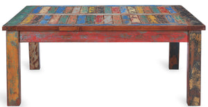 Square Coffee Table made from Recycled Teak Wood Boats - La Place USA Furniture Outlet