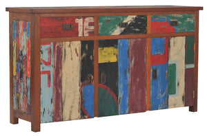 "Buffet with 3 Doors and 3 Drawers Made from Recycled Teak Wood Boats - 63"" Wide - La Place USA Furniture Outlet"