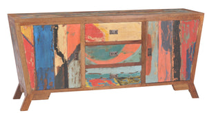 "Cone Shaped Buffet Made From Recycled Teak Wood Boats - 72"" x 20"" - La Place USA Furniture Outlet"