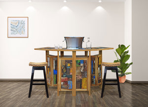 Marina Del Rey Folding Bar Made From Recycled Teak Wood Boats - La Place USA Furniture Outlet