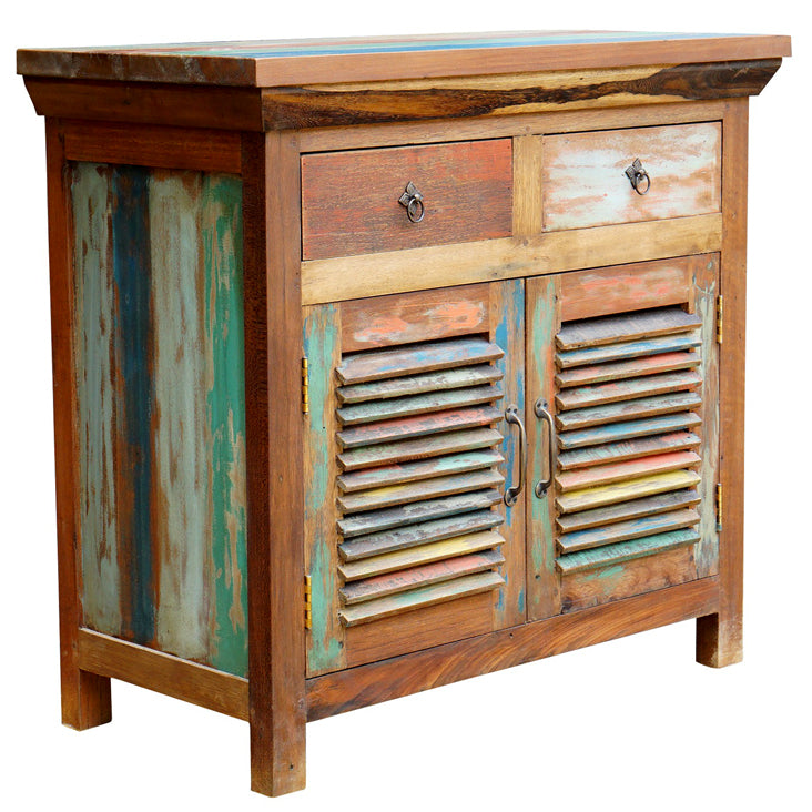 Chest with 2 doors and 2 drawers made from Recycled Teak Wood Boats
