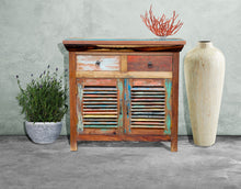 Chest with 2 doors and 2 drawers made from Recycled Teak Wood Boats - La Place USA Furniture Outlet