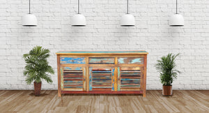 Chest / Media Center 3 doors and 3 drawers made from Recycled Teak Wood Boats - La Place USA Furniture Outlet