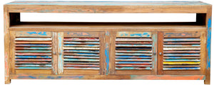 Chest / Media Center with 4 doors & Raised Shelf made from Recycled Boats - La Place USA Furniture Outlet