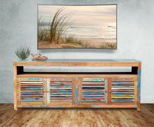 Chest / Media Center with 4 doors & Raised Shelf made from Recycled Teak Wood Boats - La Place USA Furniture Outlet