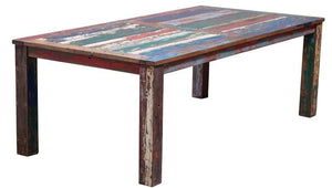 Dining Table Made From Recycled Teak Wood Boats, 87 X 43 Inches - La Place USA Furniture Outlet