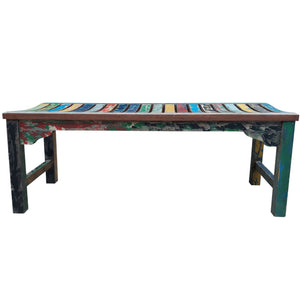 Backless Dining Bench made from Recycled Teak Wood Boats, 4 foot - La Place USA Furniture Outlet