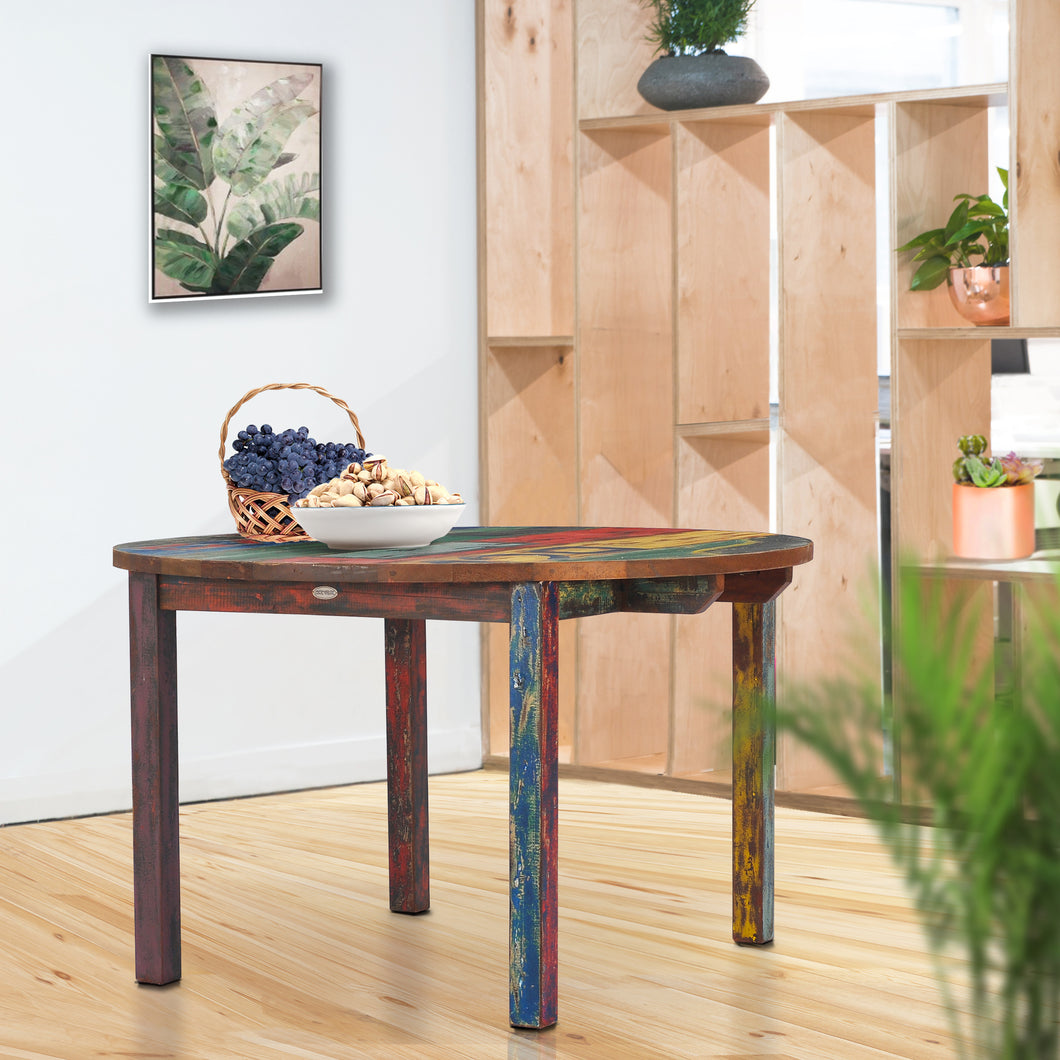 Round Dining Table made from Recycled Teak Wood Boats, 48 inch
