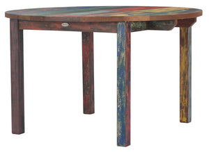Round Dining Table made from Recycled Teak Wood Boats, 48 inch - La Place USA Furniture Outlet