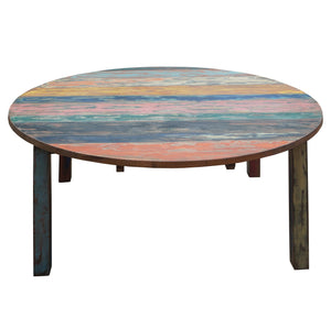 Round Dining Table made from Recycled Teak Wood Boats, 55 inch - La Place USA Furniture Outlet