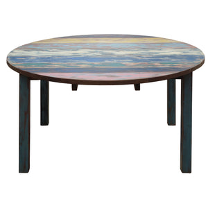 Round Dining Table made from Recycled Teak Wood Boats, 63 inch - La Place USA Furniture Outlet