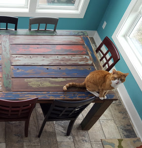 Dining Table Made From Recycled Teak Wood Boats, 55 X 35 Inches - La Place USA Furniture Outlet