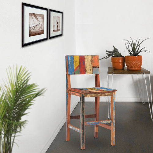 Marina Del Rey Barstool made from Recycled Teak Wood Boats
